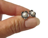 Pearl and Silver flower  studs earrings , small post earrings, fresh water pearls ,  oxidized
