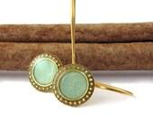 Dangle Earrings, Gold plated light green, mint  Earring , mint resin color,  nickel free, teen girls, woman