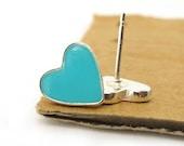 Turquoise heart stud earrings, heart jewelry, Small  post earrings, turquoise jewelry,  valentine's day,israeli jewelry