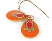 Orange  earrings, Gold earrings, Dangle Earrings,  resin color, 14K gold filled , for her, Holiday gift
