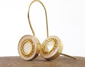 Gold dangle  Earrings - sparkle pearls  color Circle, resin, 14K gold filled, wedding earrings, bride, A luxurious look