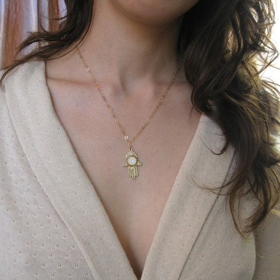 Hamsa necklace, White pearl color, Gold filled , filigree hamsa. white hamsa