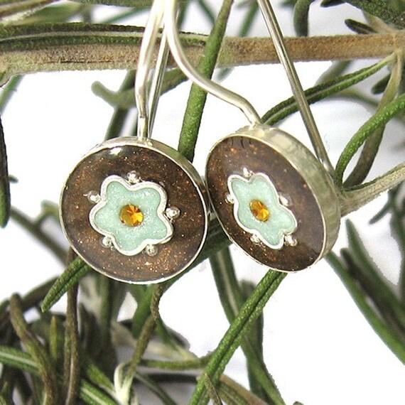 Silver Earrings - Brown and Light green  Flower, small earrings, girly earrings