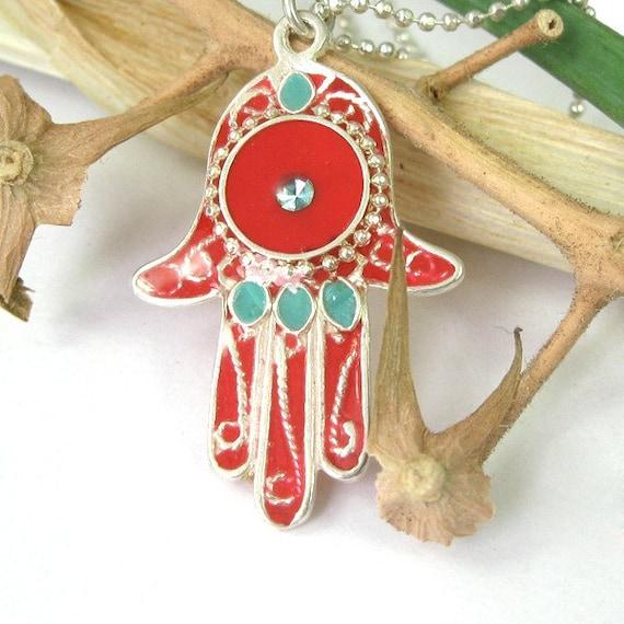 Hamsa pendant, red hamsa, sterling Silver Necklace, filigree hamssa, Red and Turquoise Hamsa, judaica jewelry