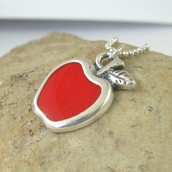 Silver necklace - red apple