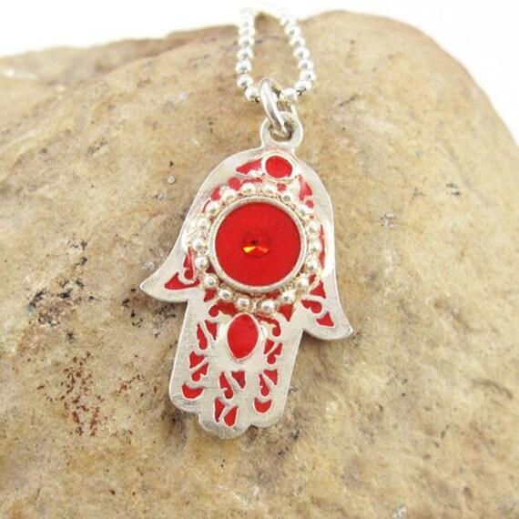 FREE SHIPPING Red hamsa pendant neclace, sterling silver hamsa,  hamsa jewelry, filigree hamsa, charm necklace