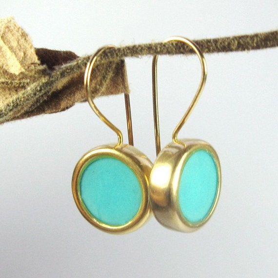 Gold Earrings -Turquoise circle