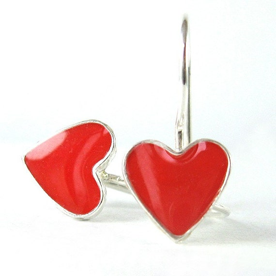 Silver heart earrings, red heart earring,  Red dangle earrings, cute small earrings,teen jewelry, valentines day gift