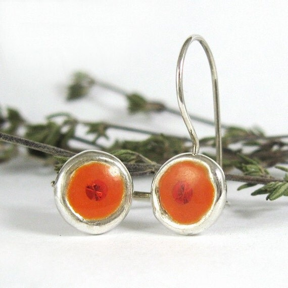 silver Earrings -Small Orange circle