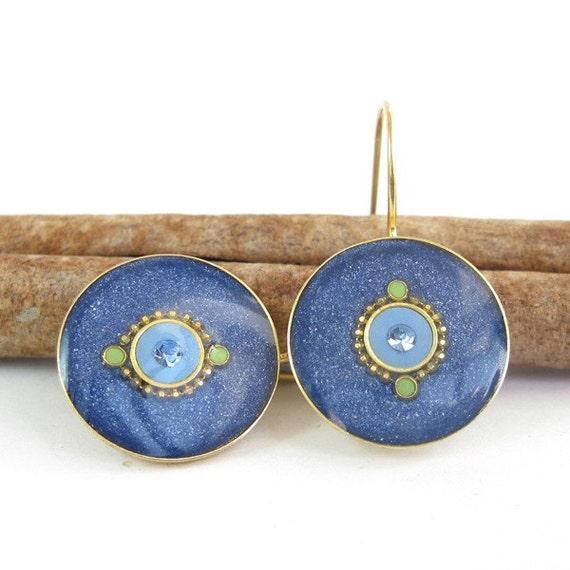 Denim blue earrings - Gold dangle   round earrings