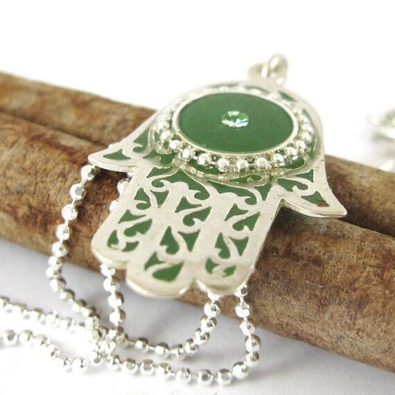 Hamsa pendant, sterling silver hamsa Necklace, Green leaves Hamsa, filigree hamsa,18' sterling chain,  resin jewelry,