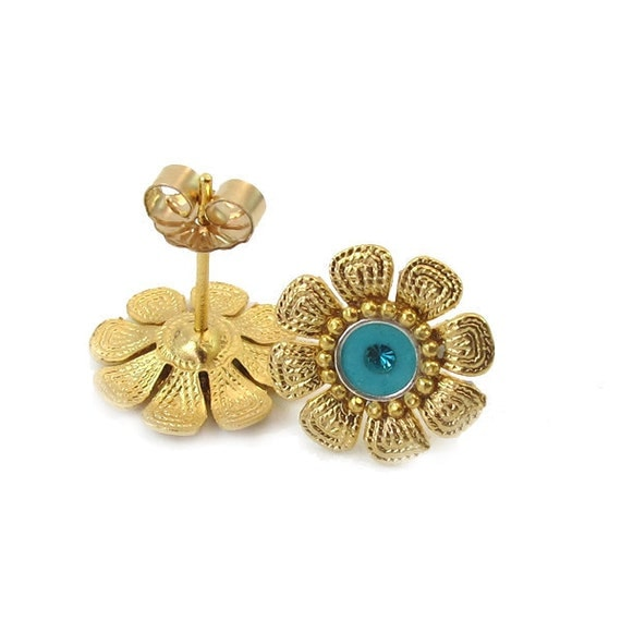 SALE - Post  Earrings in Matte Gold, studs, Flower, turquoise color and Swarovski, under 20