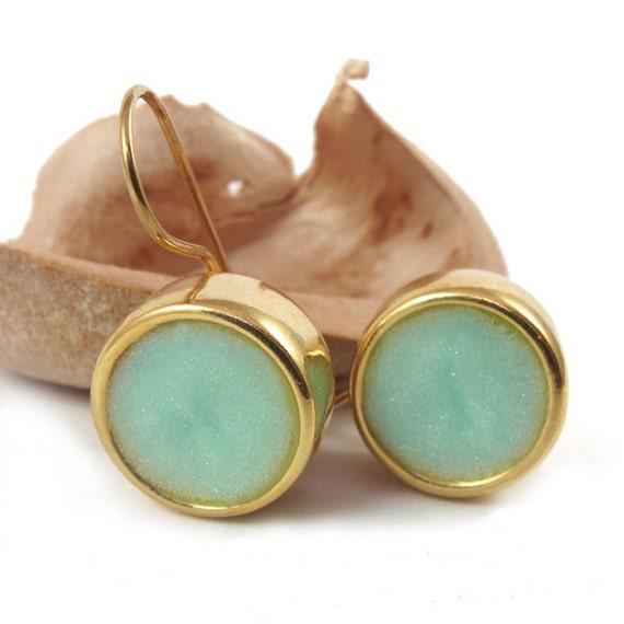 Gold Earrings -Dangle Emerald color, light green, mint circle