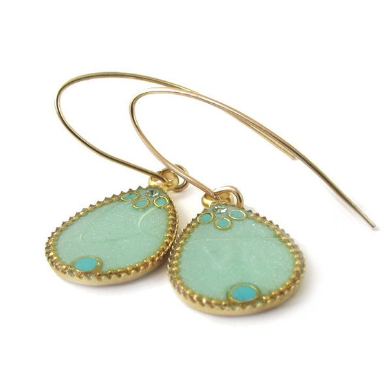 Dangle earrings, Gold Drops Earrings --  light green resin  , for her, valentines day,
