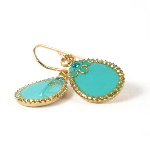Gold Dangle Earrings --  small  turquoise Drops,  resin