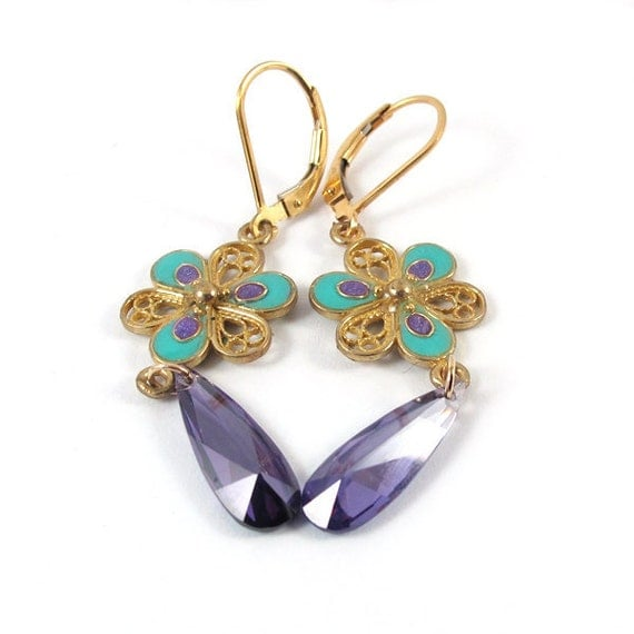Tanzanite & gold flower Earrings - Filigree  Flower in turquoise  and purple resin colors, floral earrings