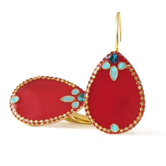 Gold Dangle Earring , Gold Plated Red Drop Earrings, Decorated red, turquoise resin color,  Swarovski crystal
