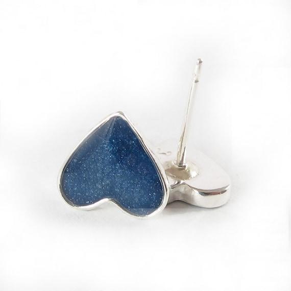Blue Heart stud Earrings - Small Sterling Silver post earrings, valentine's day, under 25