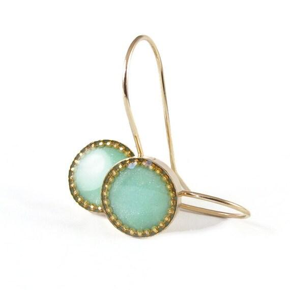 Gold dangle Earrings -light green, mint colors Circle, 14K gold filled