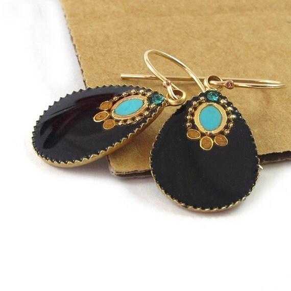 Big Gold Drops Earrings --  Black & turquoise resin  dangle earrings, Swarovski crystal,
