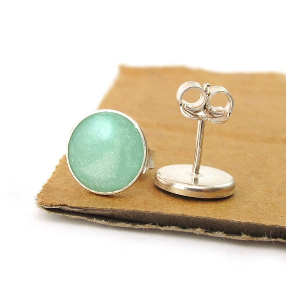 Silver  Studs Earrings - Light green, mint color resin, small circle