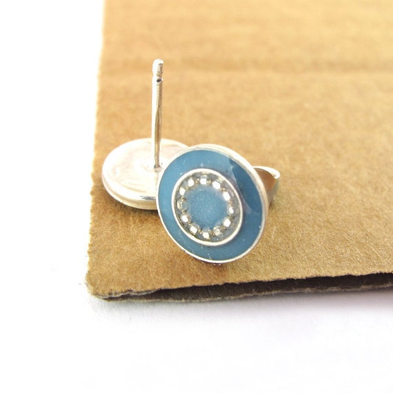 Silver  Studs Earrings - Grayish blue color resin, small circle, bright earrings, light blue post earrings
