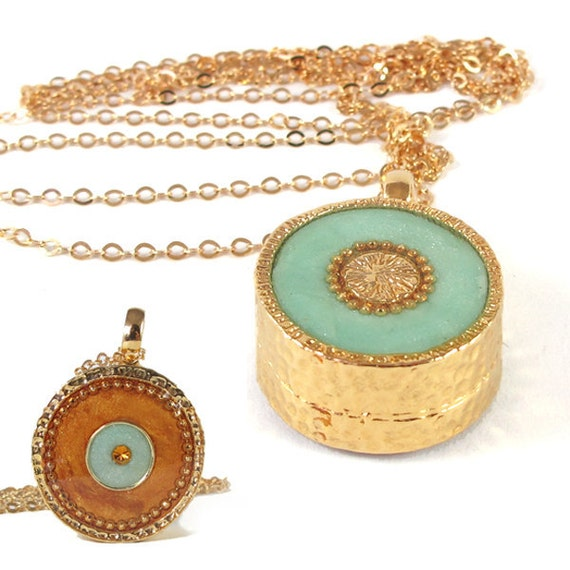 Mint necklace, Gold Necklace LONG, 14K gold filled, Light green & Bronze  resin,  Topaz Swarovski crystal, Double-sided, versatile necklace