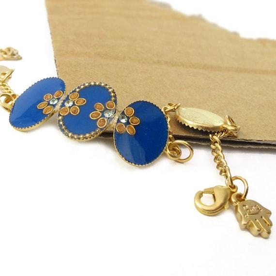 Gold bracelet, blue color, resin, Adjustable,  14K gold plated brass, Swarovski crystal, hamsa charm