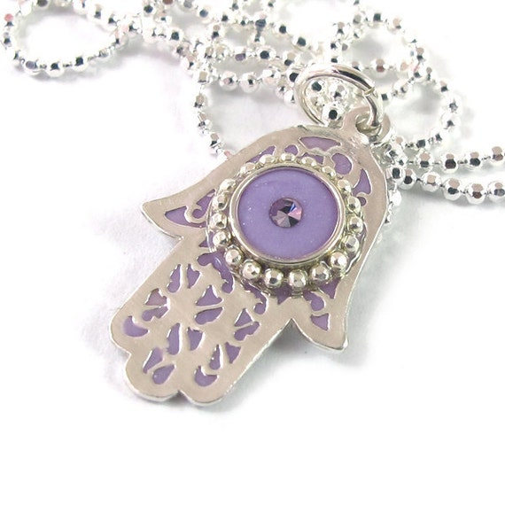 Silver  hamsa pebdant,  Lilac, Light purple  Hamsa, sterling silver chain,  filigree hamsa