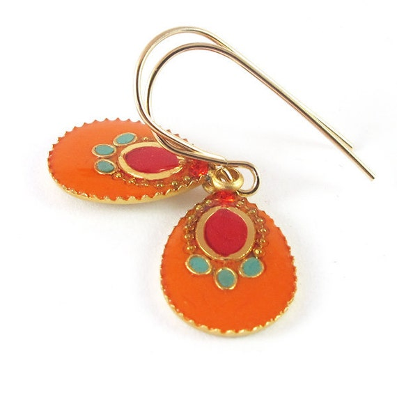 Orange  earrings, Gold earrings, Dangle Earrings,  resin color, 14K gold filled , for her, Holiday gift