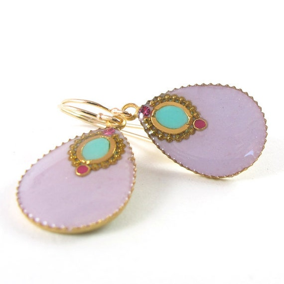 Lilac Gold Drops Earrings -  pastel purple and turquoise resin color,  14K gold filled  ,Fuchsia Champagne crystal, lightweight earrings
