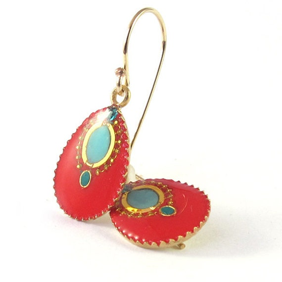 Red earrings,  Gold small dangle Earrings,  red and turquoise resin color, 14K gold filled ,for her, under 40 , 2013