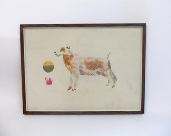 Large Hand Painted Terrier Print on Silk by Rose de Borman