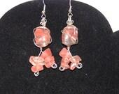 Cherry Quartz wire sculpted earrings.