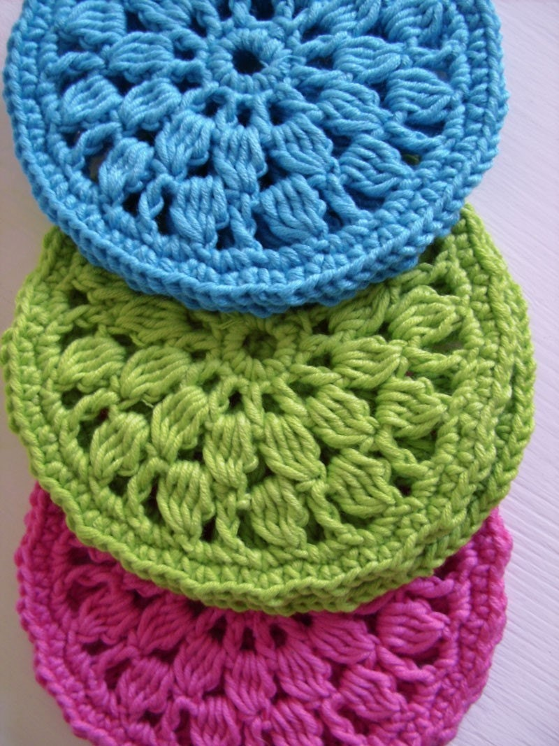 Easy crochet pattern for home round coasters pdf crochet for Crochet crafts that sell well