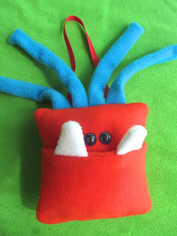 Monster Tooth Pillow - Bright Red and Turquoise