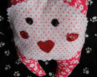 Pocket Pal Toy / Valentine / Heart Mouth / softie / fabric doll