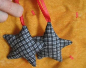 Fabric Star Ornaments /  set of two / Blue Plaid Homespun