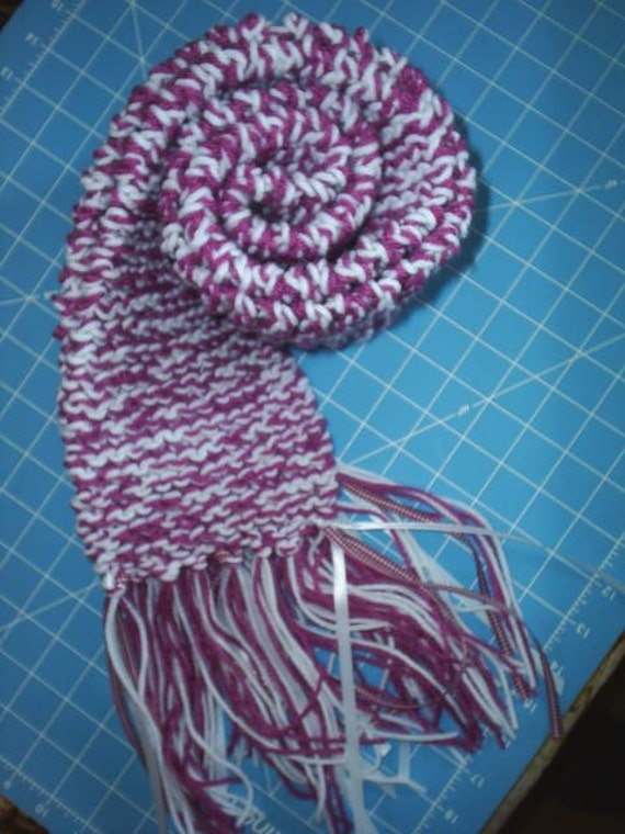 Raspberry Sherbet Hand Knit Scarf / Unisex Scarf / Knit Accessories