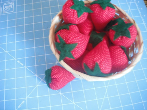 Fabric Strawberry decoration ornament or pin cushion