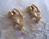 Vintage Gold Tone Aurora Borealis Clip On Earrings