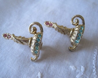 Vintage Two Candle Rhinestone Pins