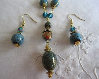 Vintage Gold And Blue Beaded Necklace and Earrings