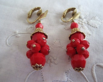 Vintage Gold and Red Beaded Clip On Earrings