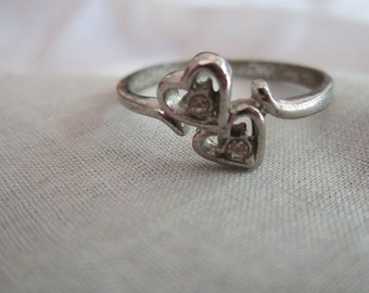 Vintage Silver Tone Two Hearts with Rhinestones Ring