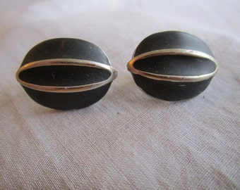 Vintage Silver Tone Black and Silver Oval Clip On  Earrings