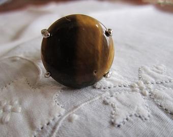 Vintage Silver Tone Large Size Tiger Eye Ring