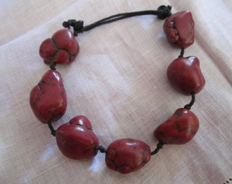 Vintage Large Chunks of Dark Red Quartz Bracelet on a Leather Cord