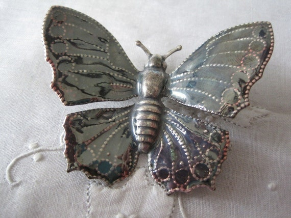 Vintage Large Silver Tone Butterfly Brooch