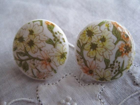 Vintage Spring Time Porcelain Flowered Pierced Earrings